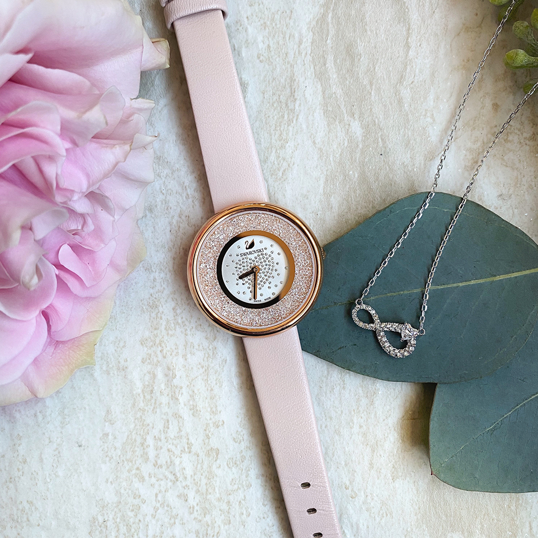 Swarovski Pink Watch & Infinity Necklace