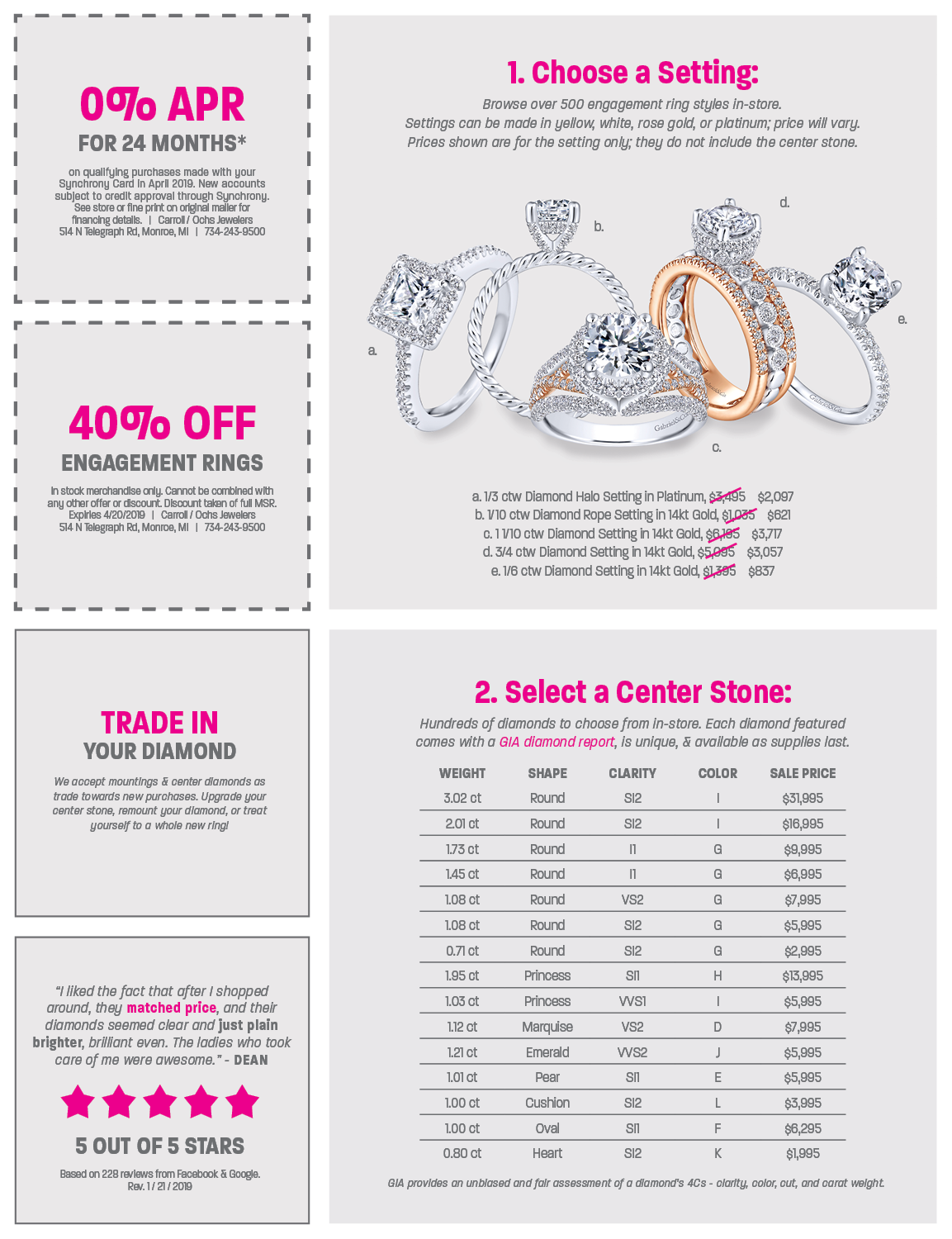 0% APR Financing, 40% off Engagement Rings, Jewelry Trade In, Loose Diamonds