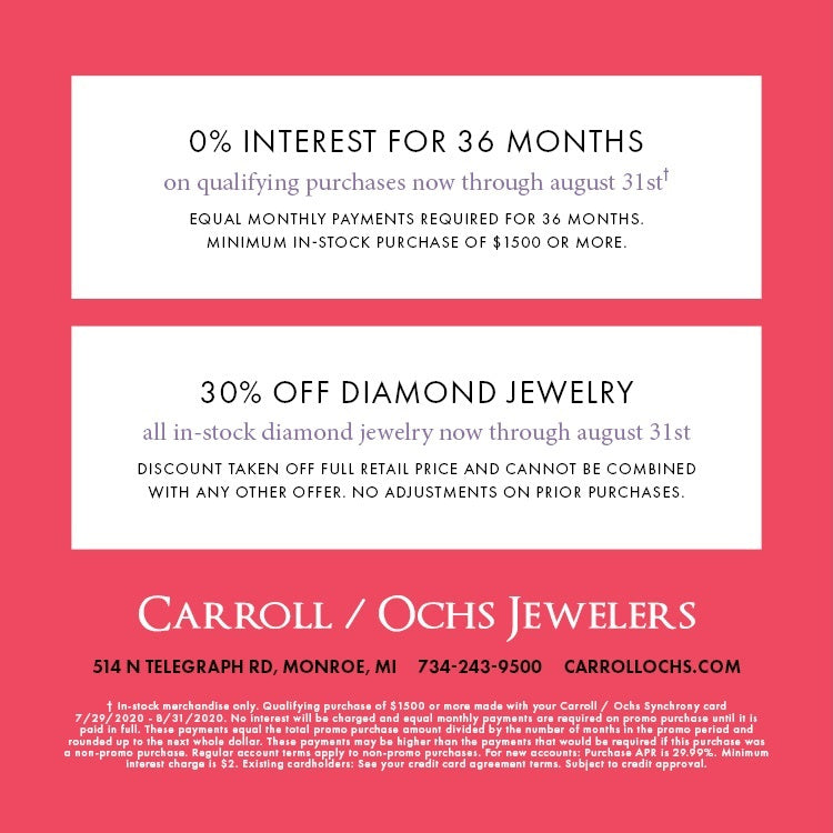 Carroll Ochs 30% off Diamond Jewelry and 36 Month Financing Offer