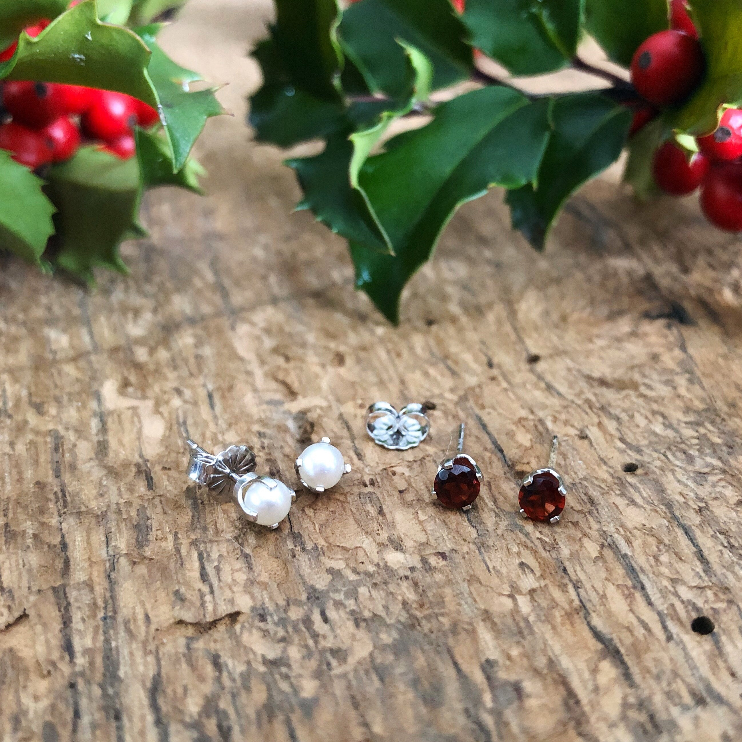 Genuine Birthstone Stud Earrings in White or Yellow Gold