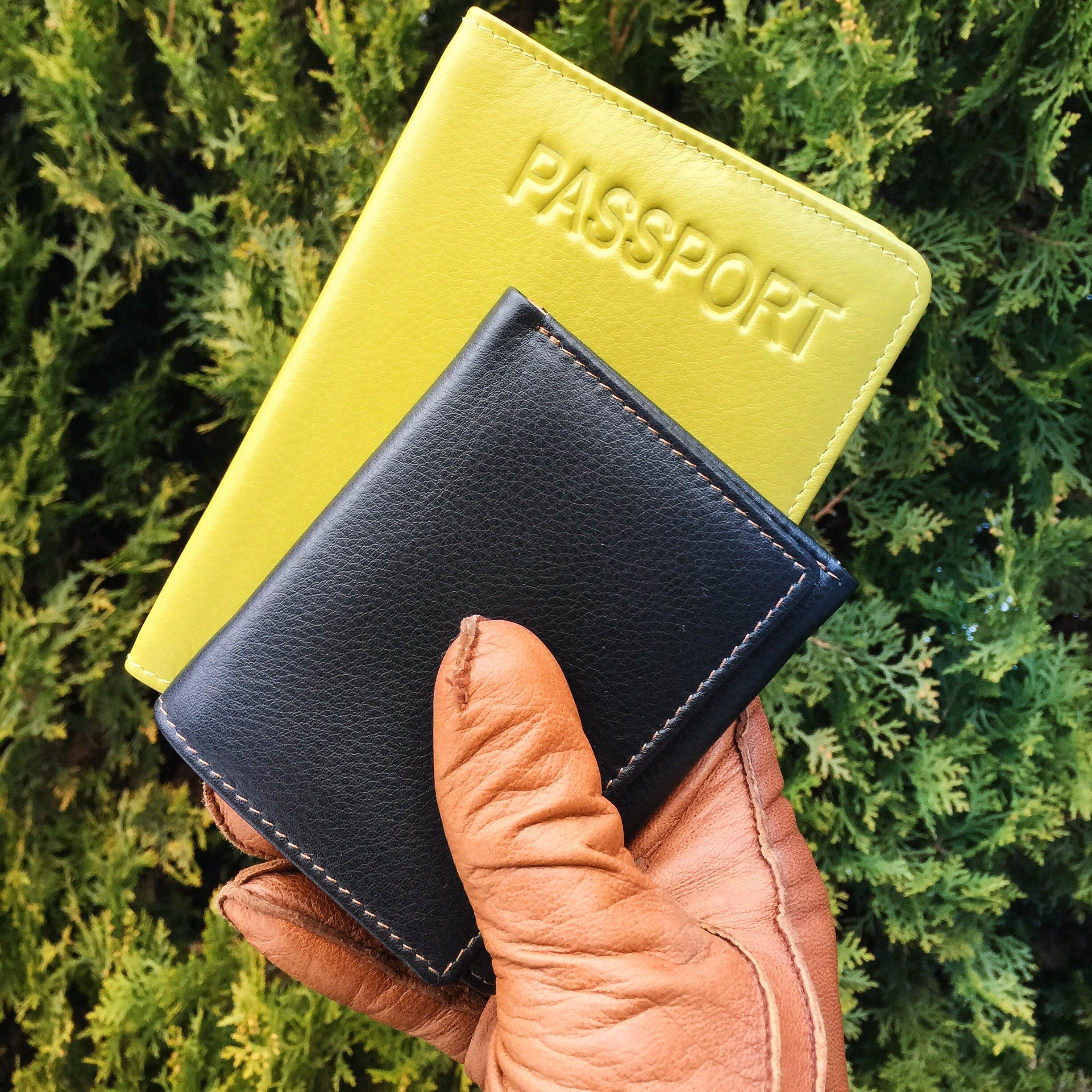 Leather Wallet Passport Book