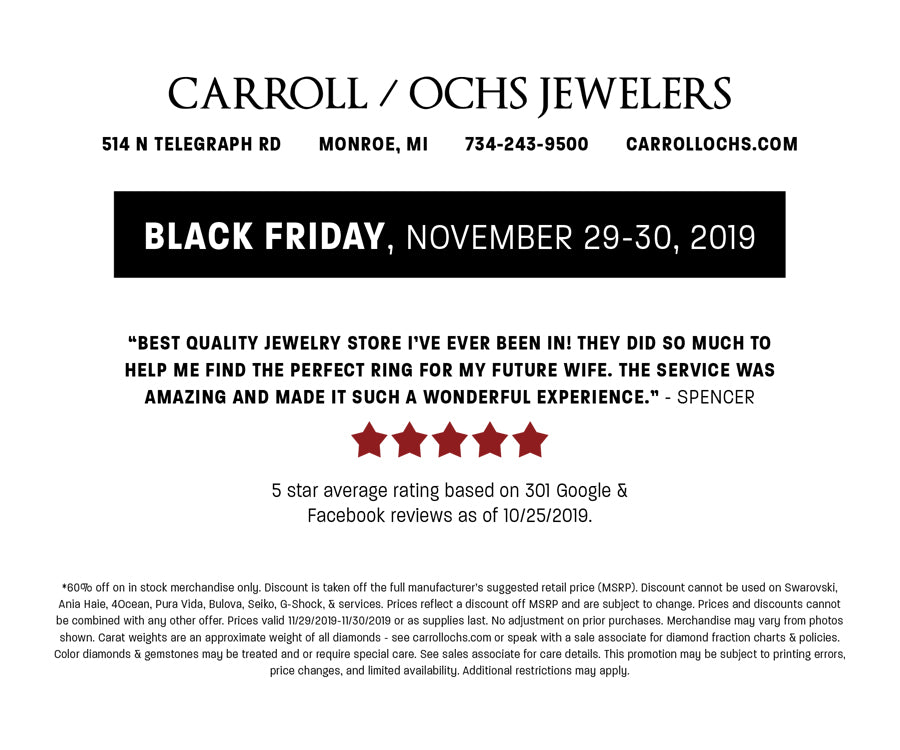 Carroll Ochs Jewelers, Black Friday, Monroe, Michigan, Terms and Conditions