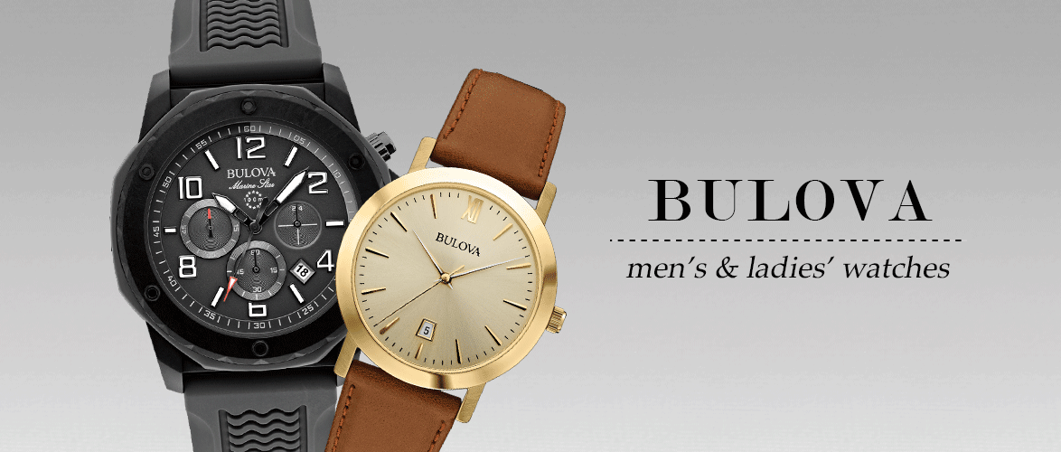 Bulova - Men's & Ladies' Watches - Black Marine Star and Gold Tone / Leather Watches
