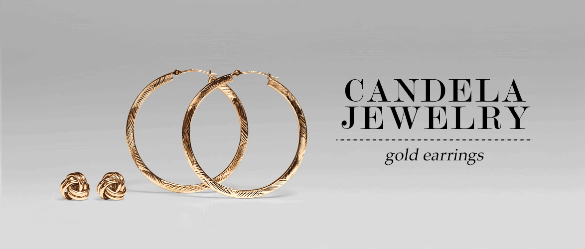Candela Jewelry - Gold Earrings - Yellow Gold Hoops & Studs