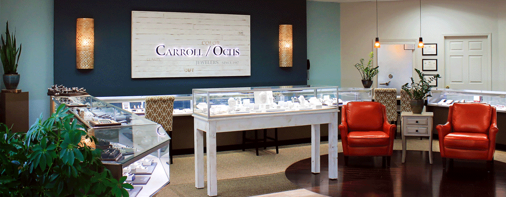 Carroll Ochs Jewelers Inside Store Facing Engagement Ring Cases