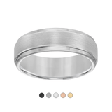 Satin Step Edge Tungsten Wedding Band