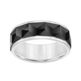 Faceted Black Tungsten Wedding Band