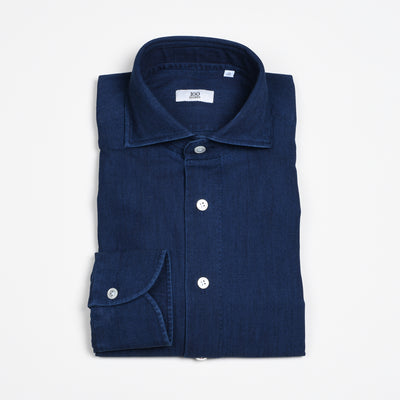 Black Line Cutaway collar shirt in denim - Indigo