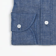 Black Line Cutaway collar shirt in Japanese selvedge chambray - Light blue