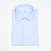 Semi Cutaway Collar Shirt in Light Blue Stripes Poplin