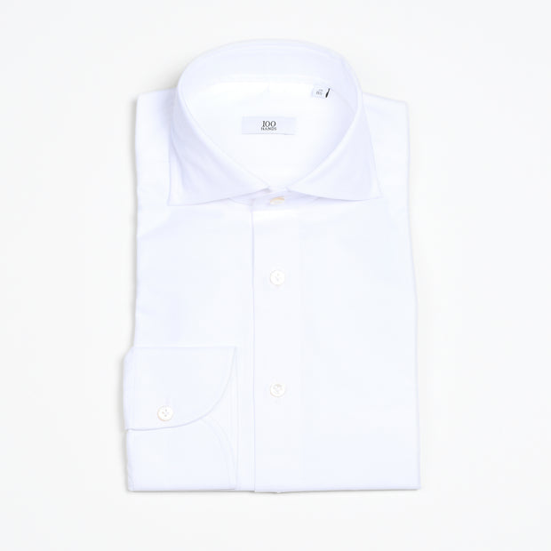 Cutaway Collar Shirt in White Twill