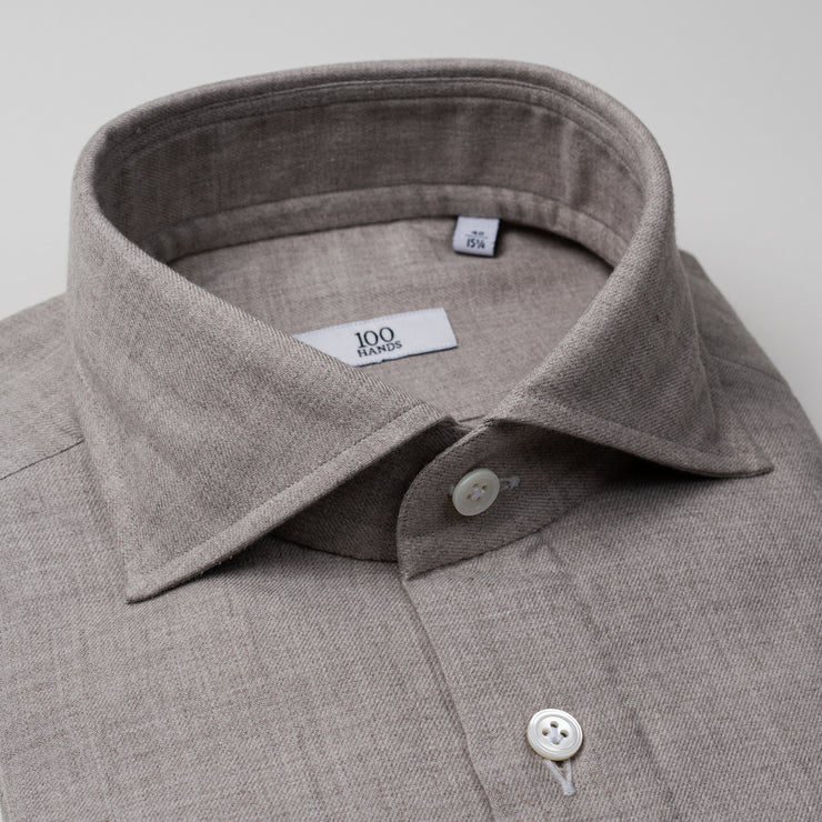 Cutaway Collar Shirt in Earth Cashmere-Cotton