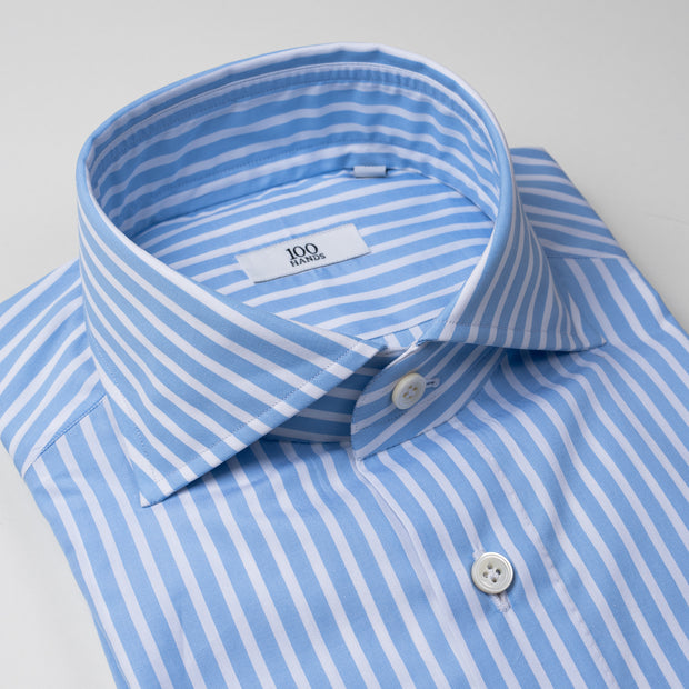 Cutaway Collar Shirt in Light Blue & White Stripe
