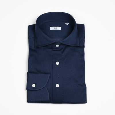 Cutaway Collar Shirt in Navy Pique