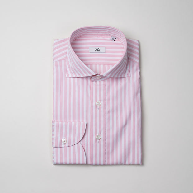 Cutaway Collar Shirt in Pink & White Stripe