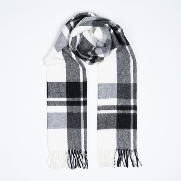 Lambswool-Angora Scarf Buffalo Plaid - White / Grey