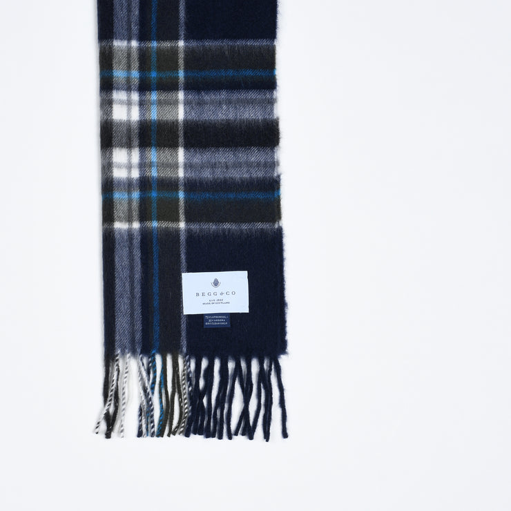Lambswool-Angora Scarf Plaid - Navy Turquoise