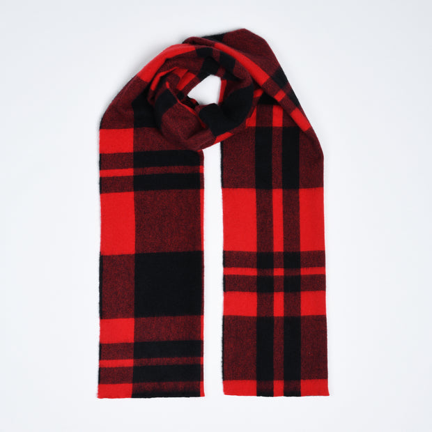 Lambswool-Cashmere Scarf Buffalo Plaid - Red / Black
