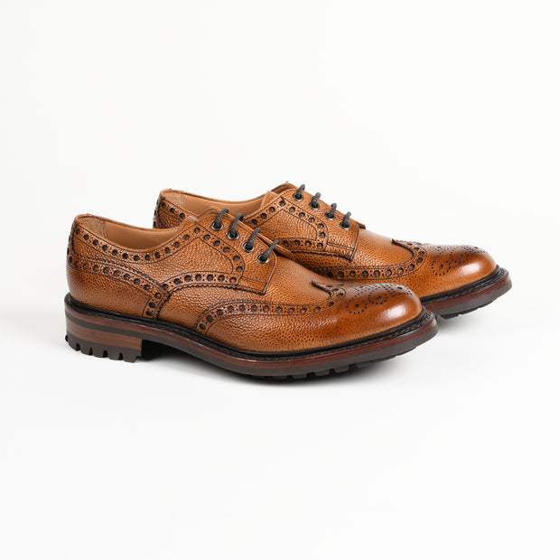 Avon Wingtip Country Brogue Derby in Tan Scotch Grain