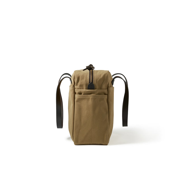 Rugged Twill Tote Bag With Zipper - Tan