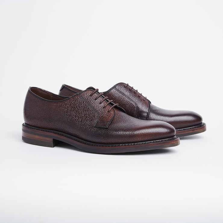 Troon Rog Plain Toe Derby in Brown Scotch Grain