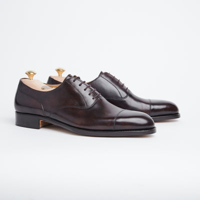 Cap toe oxford in Dark brown museum calf