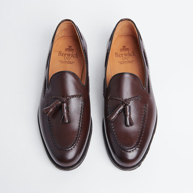 Braided Tassel Loafer in Brown Calf