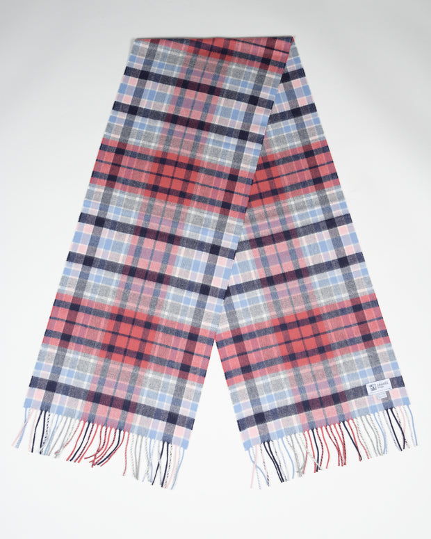 Oversized Cashmere Scarf in Gordon Tartan - Blush