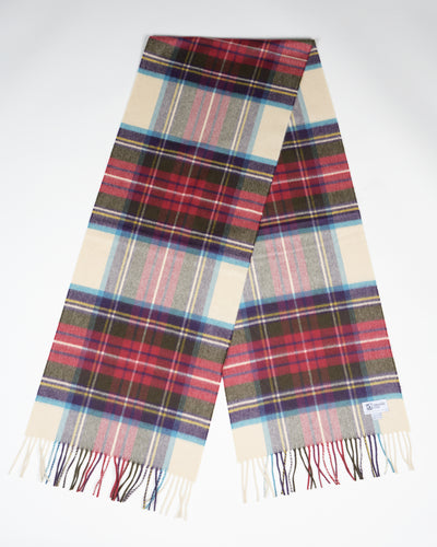 Oversized Cashmere Scarf in Hessian Dress Stewart Tartan