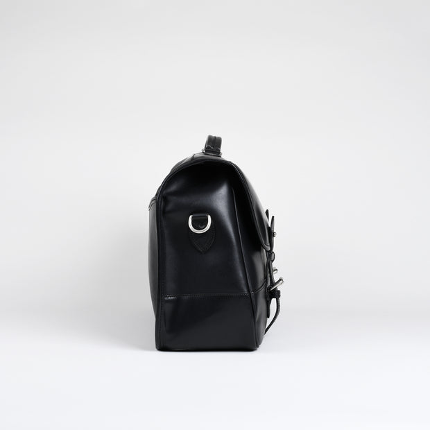 Large Clipper Satchel - Black Calf