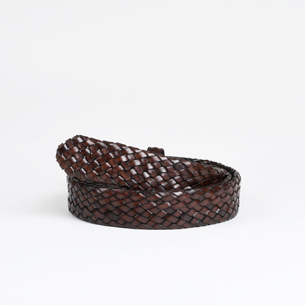 Woven Leather Belt - Dark Brown