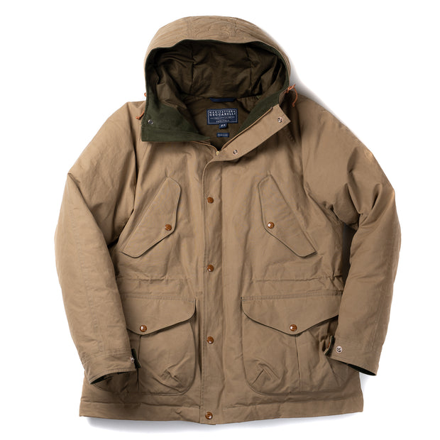 Goose Down Padded Fisherman Parka in Dark Tan