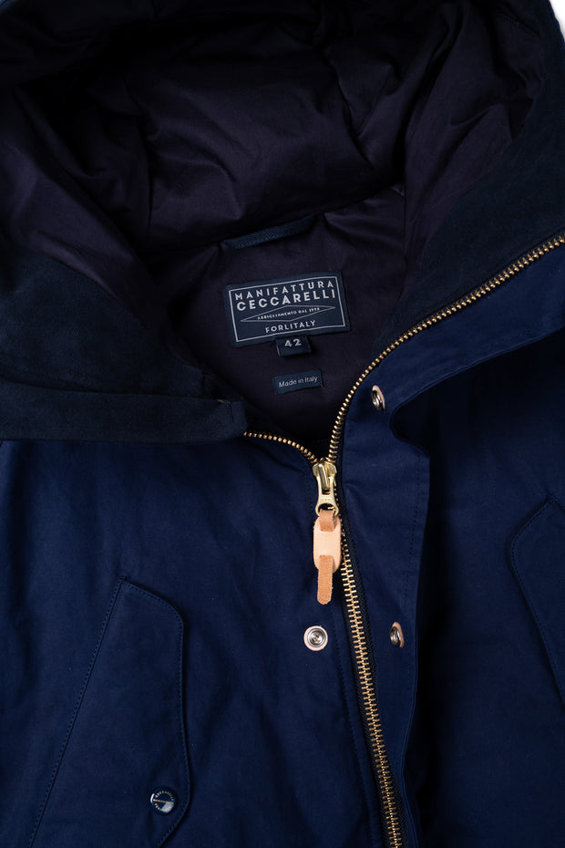 Goose Down Padded Fisherman Parka in Navy