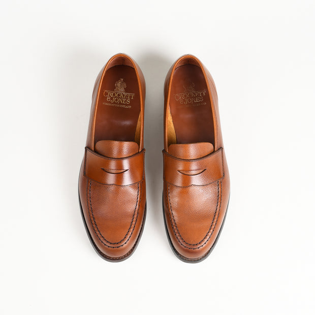 Harvard II Unlined penny loafer in tan pebbled grain