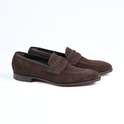 Teign Unlined penny loafer in Dark Brown Suede