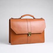 Captain's Briefcase - Tan Harness Leather