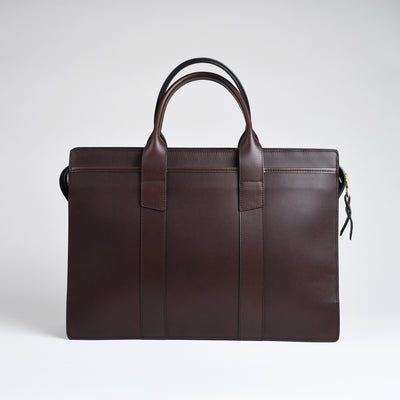 Zip Top Briefcase - Chocolate harness leather