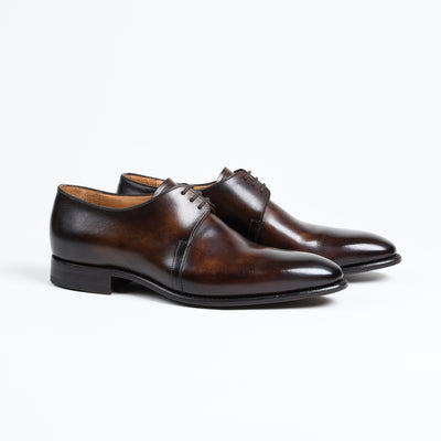 Three-eyelet Derby 7201 in Dark Brown Patina Calf