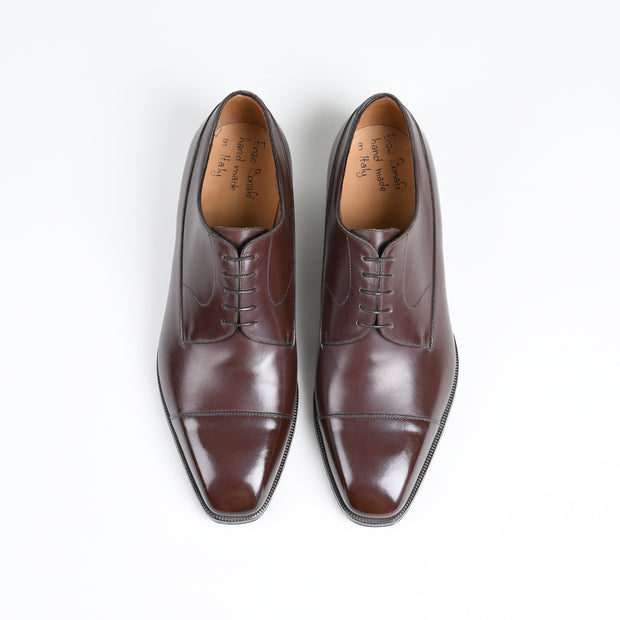 Cap toe Derby Blucher in Dark Brown Calf