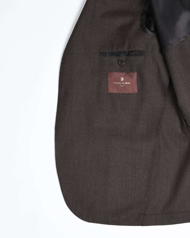Single Breasted Sport Jacket in Hopsack - Brown