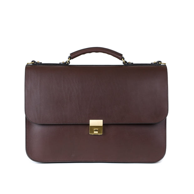 Birmingham Briefcase in Chocolate Harness Leather