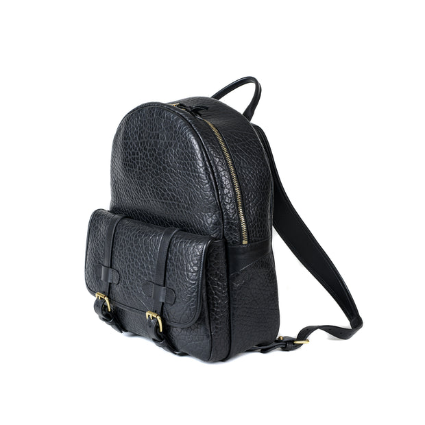 Hampton Backpack in Black Shrunken Bison Leather