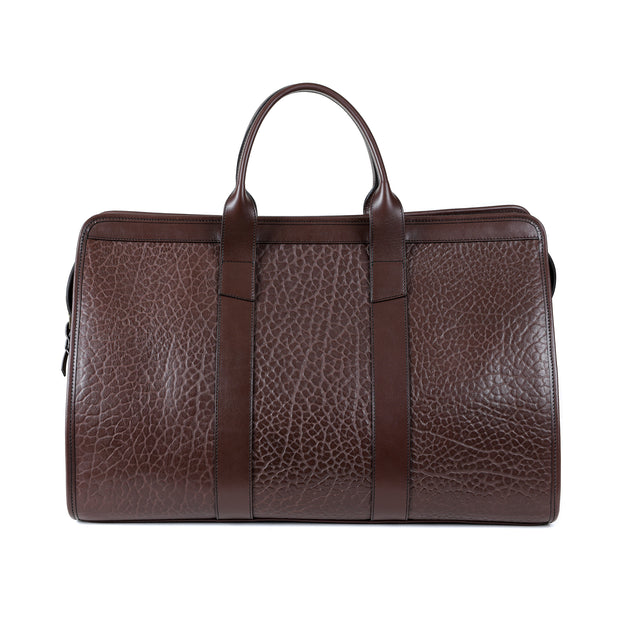 Signature Duffle Bag in Chocolate Shrunken Bison Leather