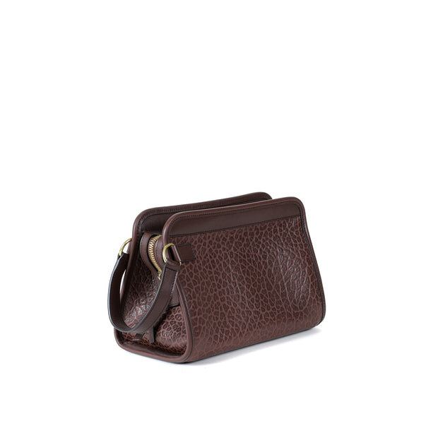 Large Travel Kit in Chocolate Shrunken Bison Leather