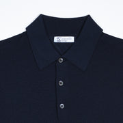 Long-sleeve polo shirt in superfine merino - Navy
