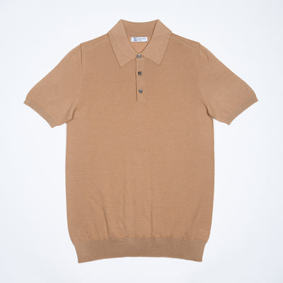 Short-sleeve polo shirt in superfine merino - Tan
