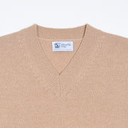 Cashmere High V-neck sweater - Tan