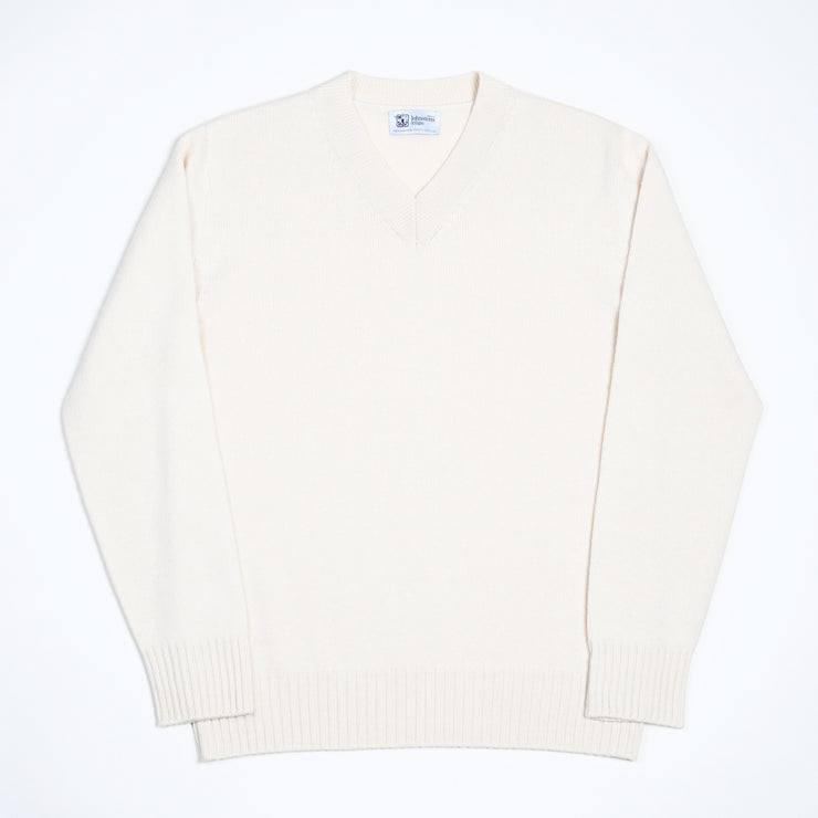 Cashmere High V-neck sweater - Ecru