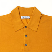Long-sleeve polo shirt in superfine merino - Amber