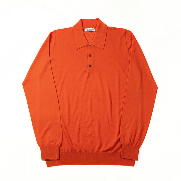 Long-sleeve polo shirt in superfine merino - Lava